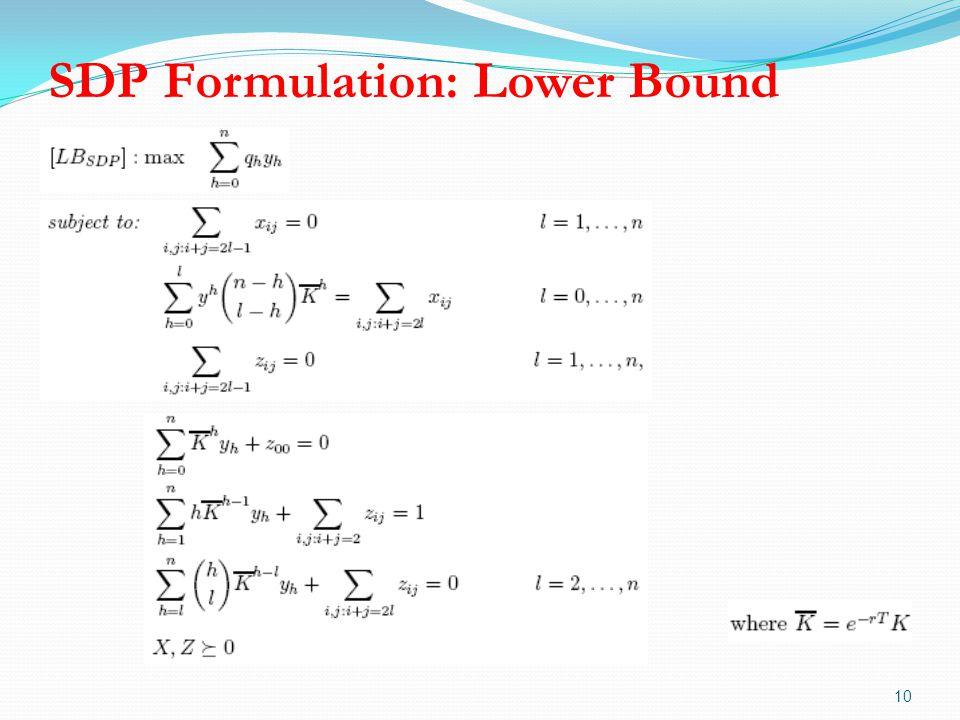 SDP Formulation: Lower Bound 10