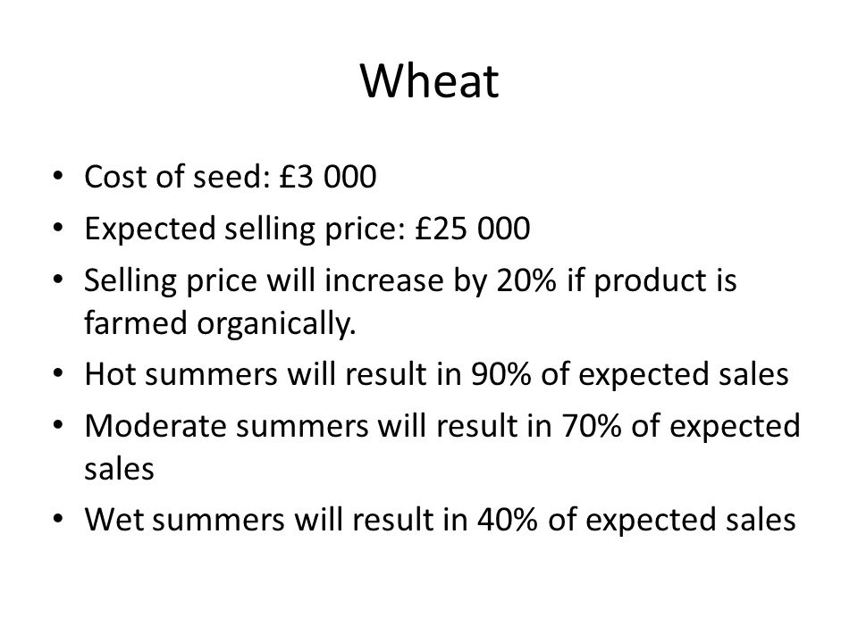 Wheat Cost of seed: £3 000 Expected selling price: £25 000 Selling price will increase by 20% if product is farmed organically. Hot summers will resul