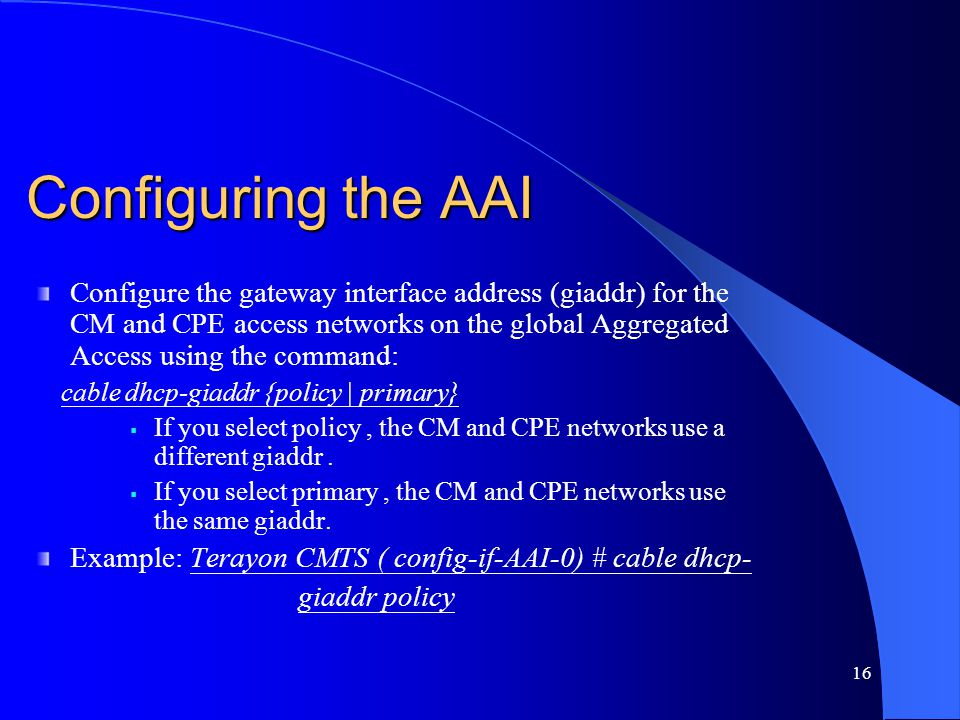 Configuring the AAI Configure the gateway interface address (giaddr) for the CM and CPE access networks on the global Aggregated Access using the comm