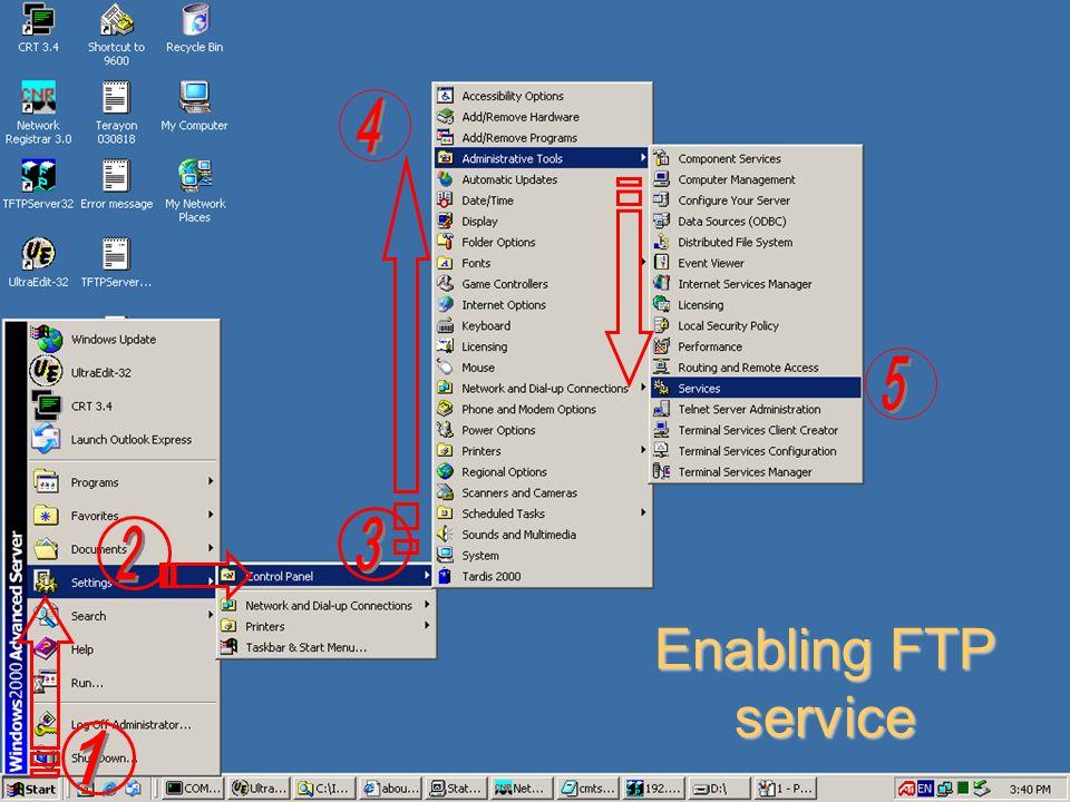 Enabling FTP service