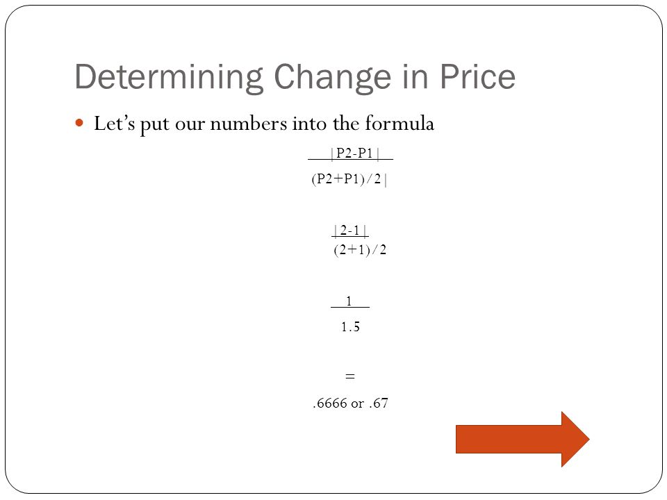 Determining Change in Price Lets ignore the quantity when trying to figure change price. Its easy to see that theres been a raise in price, but we nee