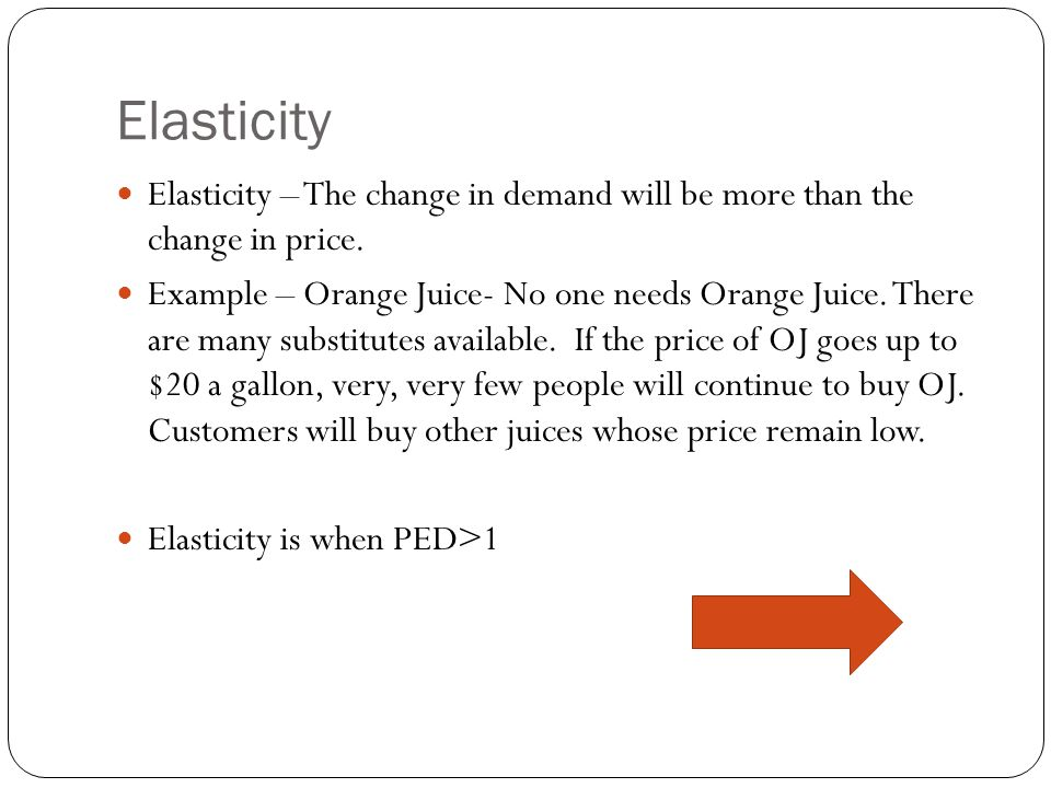 Inelasticity Inelastic – The change in demand will be less than the change in price.