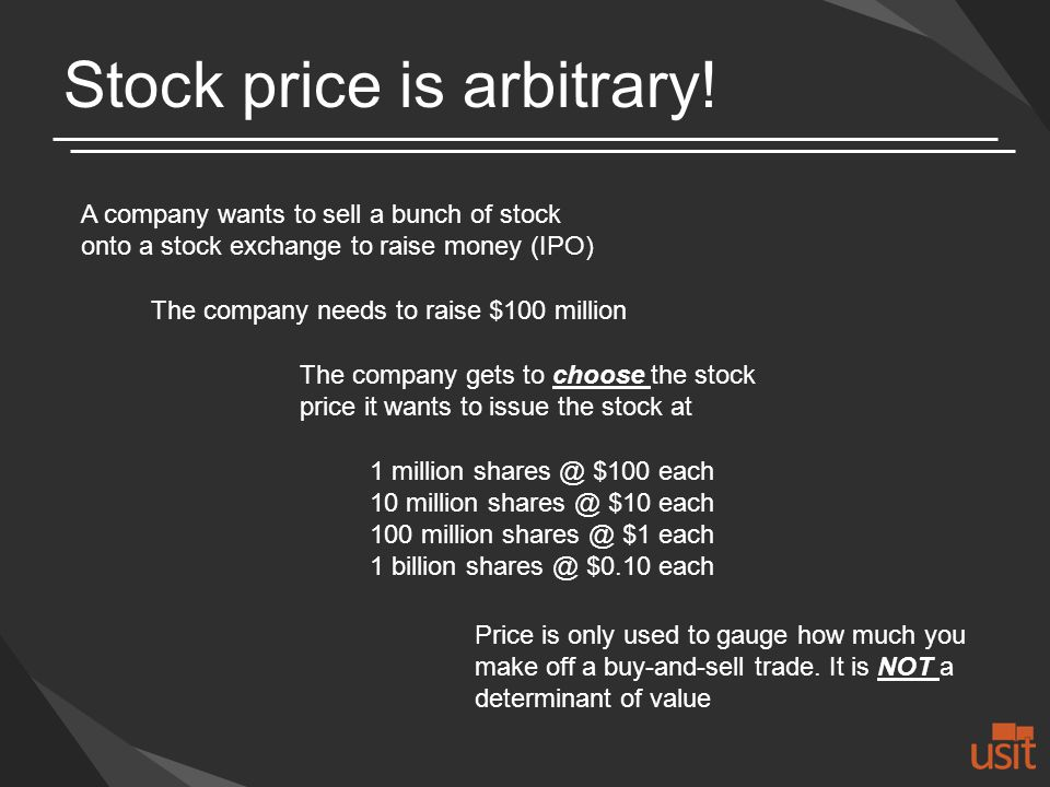 Stock price is arbitrary.