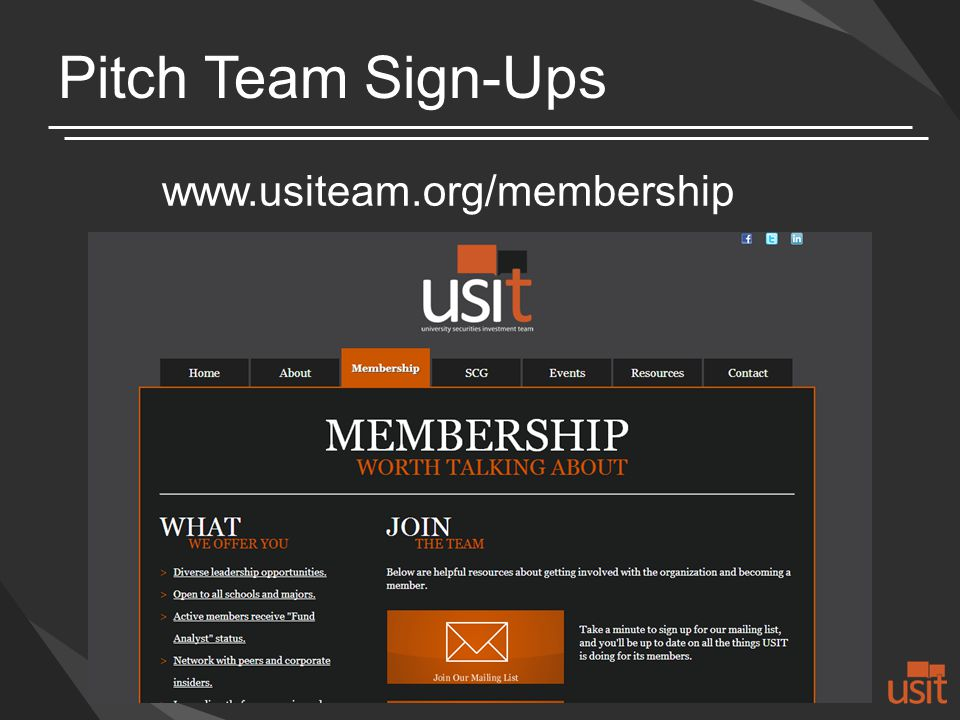 Pitch Team Sign-Ups www.usiteam.org/membership