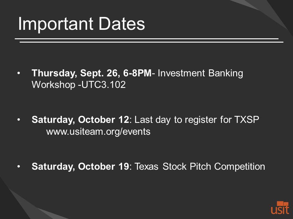 Important Dates Thursday, Sept.