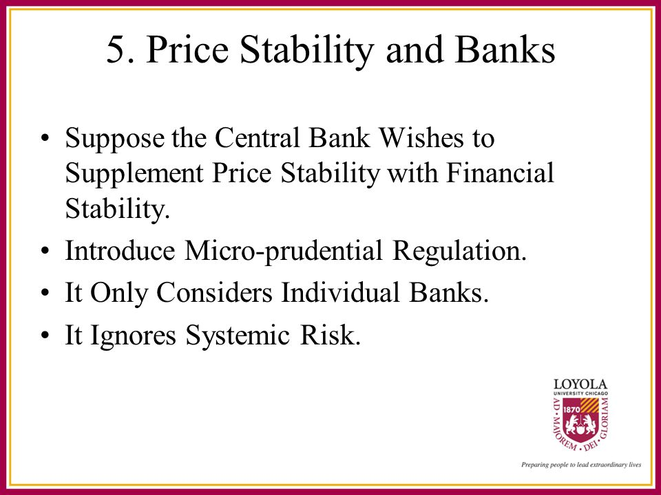 5. Price Stability and Banks Suppose the Central Bank Wishes to Supplement Price Stability with Financial Stability. Introduce Micro-prudential Regula