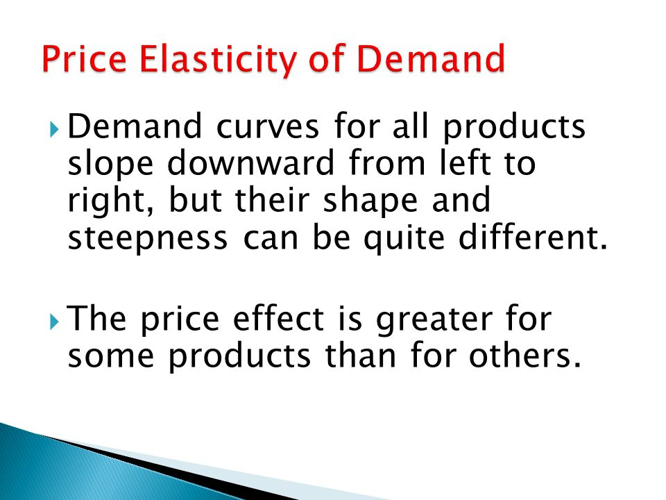 Demand curves for all products slope downward from left to right, but their shape and steepness can be quite different.