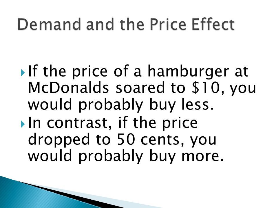 If the price of a hamburger at McDonalds soared to $10, you would probably buy less. In contrast, if the price dropped to 50 cents, you would probably