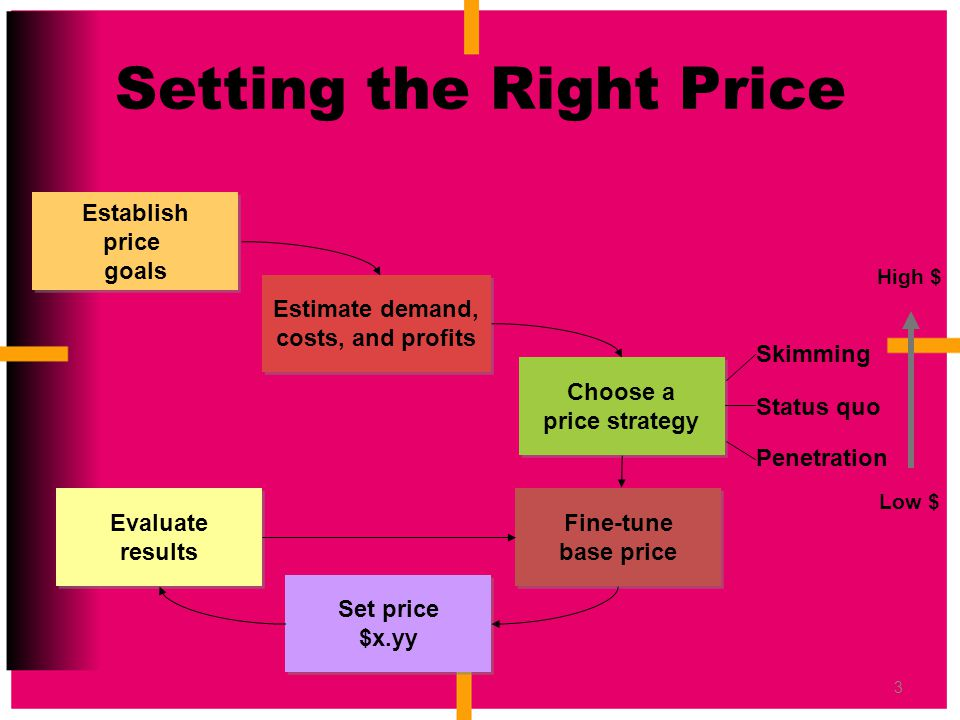3 Setting the Right Price Estimate demand, costs, and profits Establish price goals Choose a price strategy Fine-tune base price Set price $x.yy Evalu