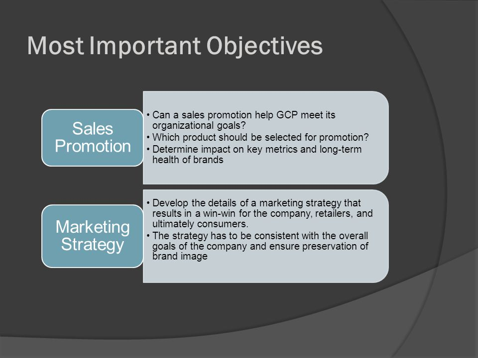 Most Important Objectives Can a sales promotion help GCP meet its organizational goals.