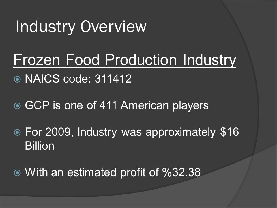 Industry Overview Frozen Food Production Industry NAICS code: 311412 GCP is one of 411 American players For 2009, Industry was approximately $16 Billion With an estimated profit of %32.38
