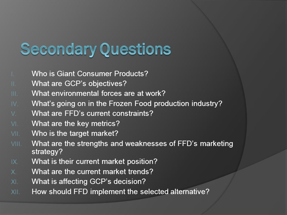 I.Who is Giant Consumer Products. II. What are GCPs objectives.