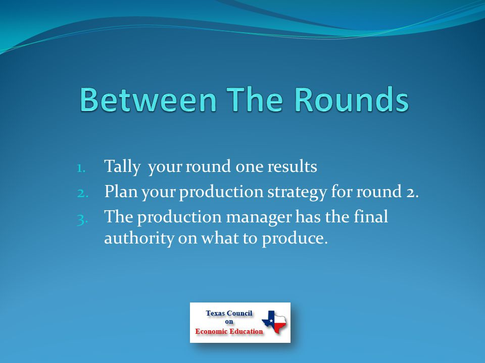 1. Tally your round one results 2. Plan your production strategy for round 2.