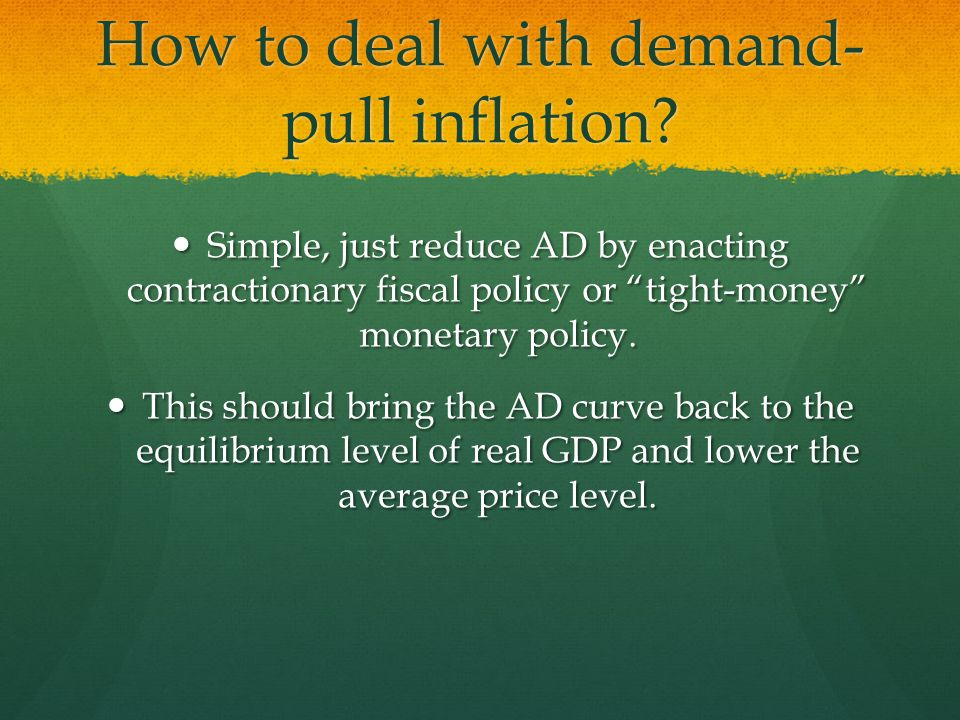 How to deal with demand- pull inflation.