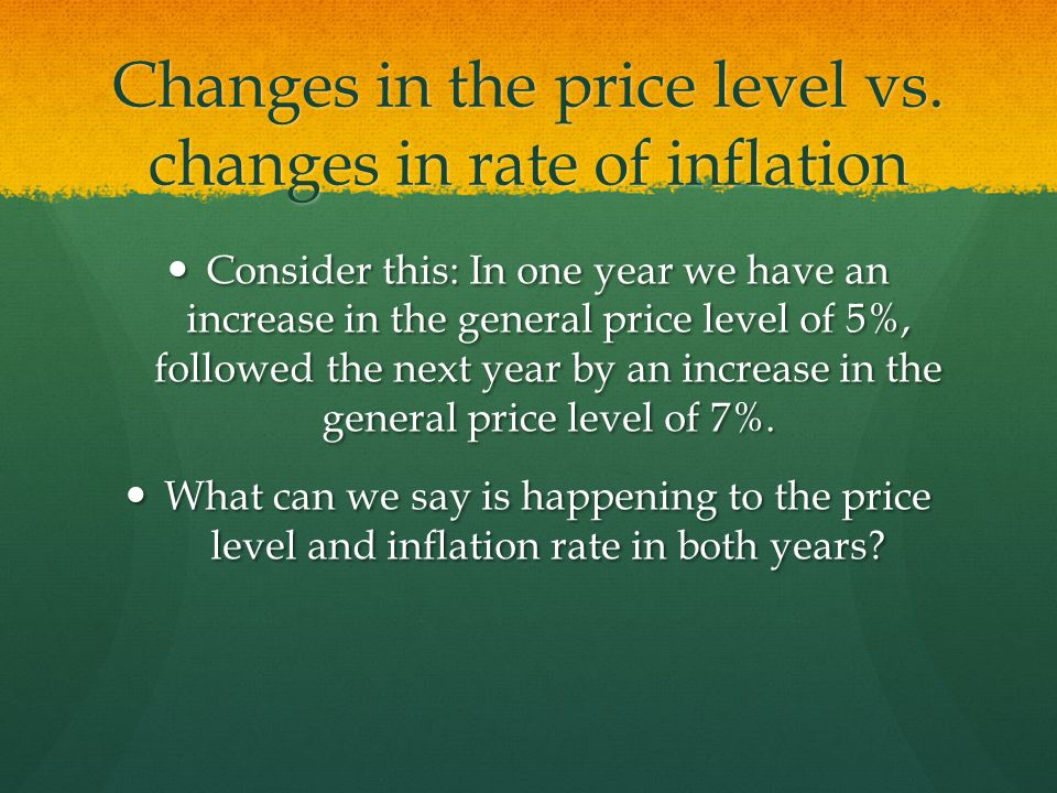Changes in the price level vs.