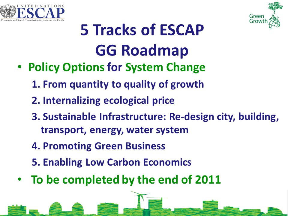 5 Tracks of ESCAP GG Roadmap Policy Options for System Change 1.