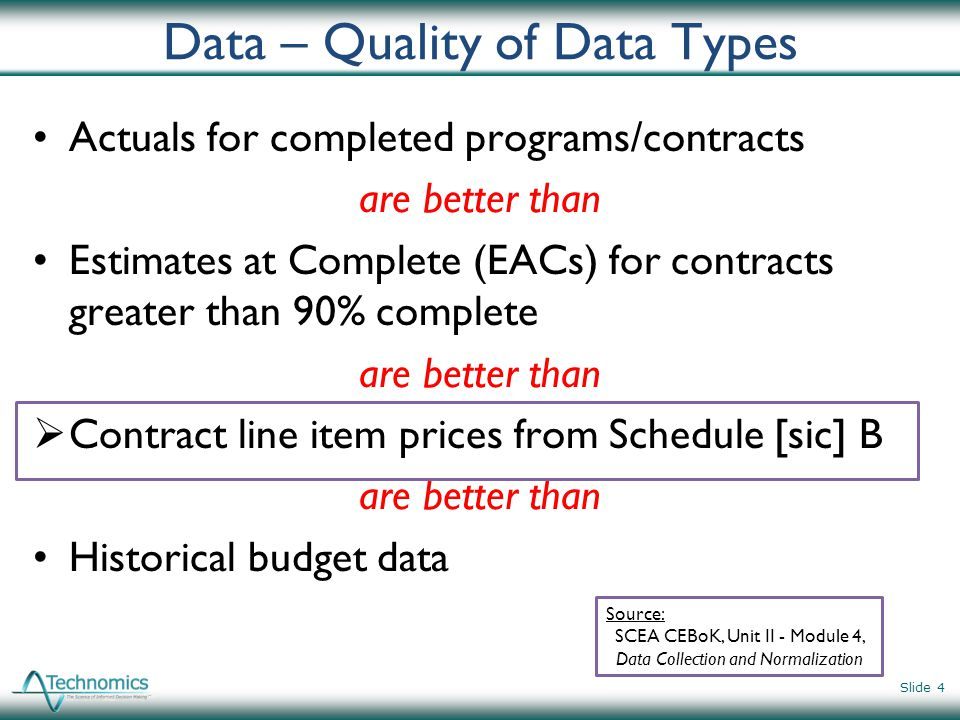 Good Estimates Consider All Data Sources Slide 5 CFSRs CCDRs CPRs Contracts Budget Docs Accounting Data Comprehensive Cost Estimate