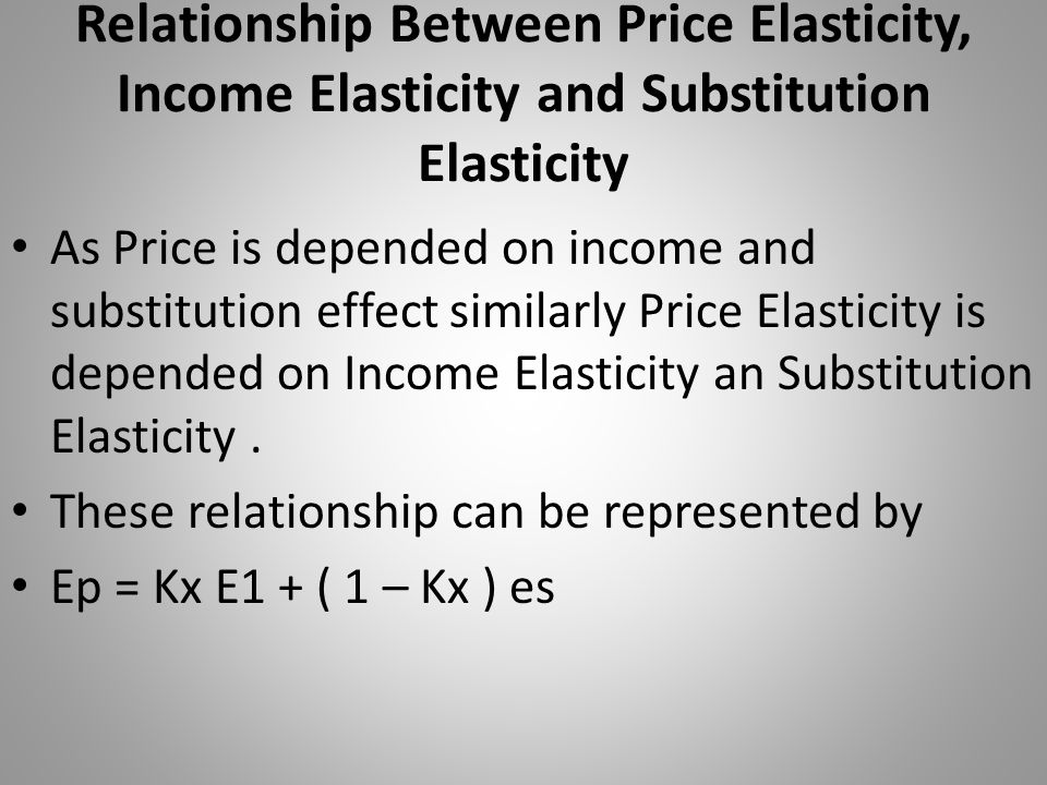 Relationship Between Price Elasticity, Income Elasticity and Substitution Elasticity As Price is depended on income and substitution effect similarly