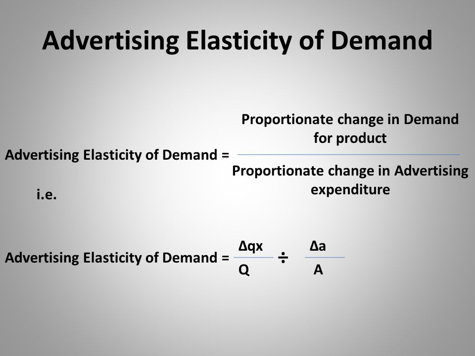 Advertising Elasticity of Demand Proportionate change in Demand for product Proportionate change in Advertising expenditure i.e. qx QA a ÷ Advertising