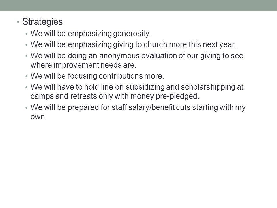 Strategies We will be emphasizing generosity.