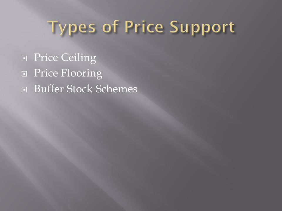 Price Ceiling Price Flooring Buffer Stock Schemes