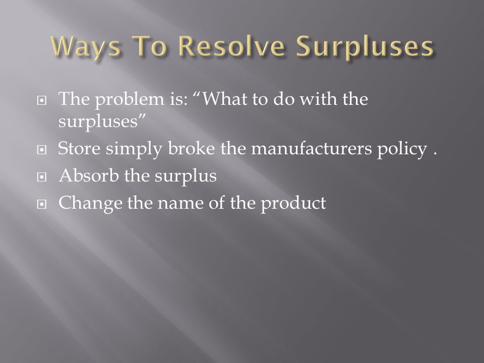 The problem is: What to do with the surpluses Store simply broke the manufacturers policy.