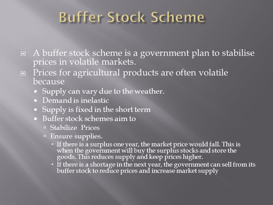 A buffer stock scheme is a government plan to stabilise prices in volatile markets.