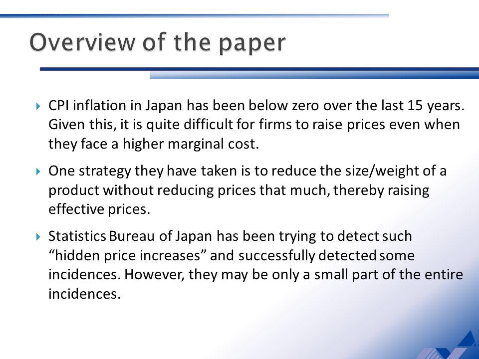CPI inflation in Japan has been below zero over the last 15 years.