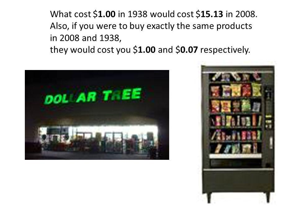 What cost $1.00 in 1938 would cost $15.13 in 2008.