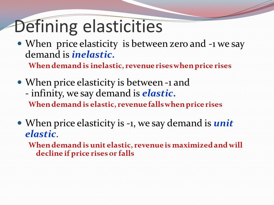 Defining elasticities When price elasticity is between zero and -1 we say demand is inelastic.