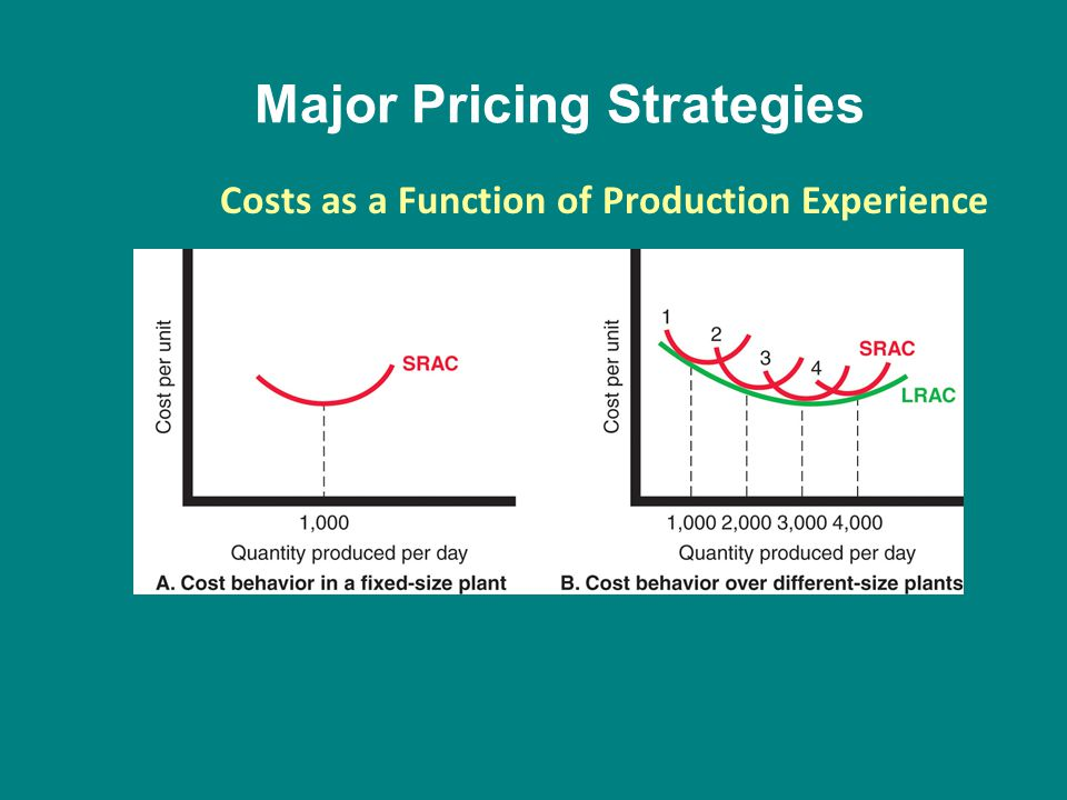Major Pricing Strategies Costs as a Function of Production Experience
