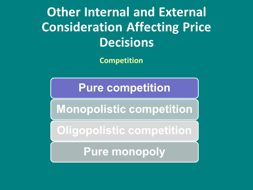 Other Internal and External Consideration Affecting Price Decisions Pure competitionMonopolistic competitionOligopolistic competitionPure monopoly Com