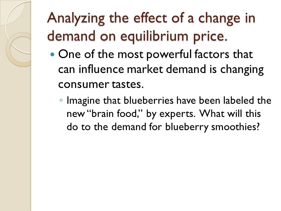 Analyzing the effect of a change in demand on equilibrium price. One of the most powerful factors that can influence market demand is changing consume