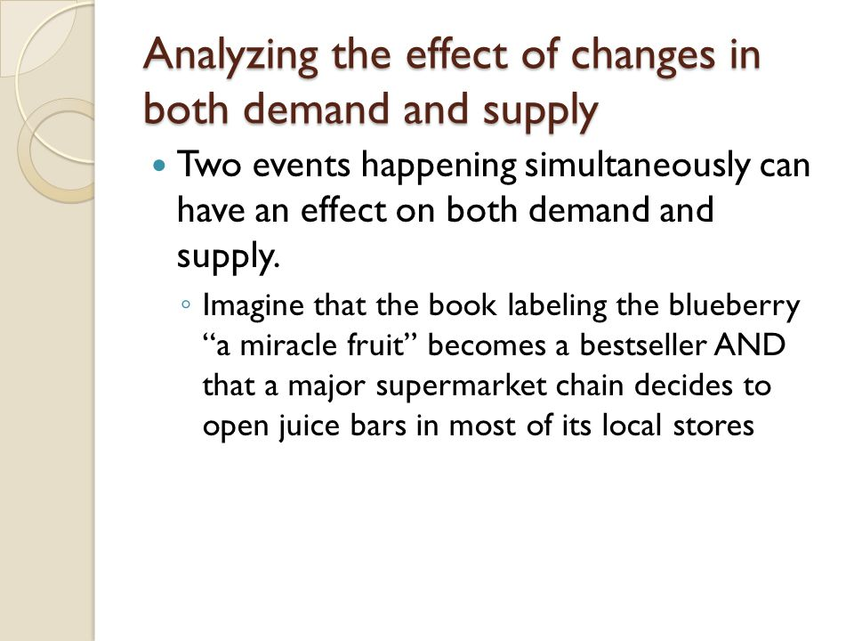 Analyzing the effect of changes in both demand and supply Two events happening simultaneously can have an effect on both demand and supply. Imagine th