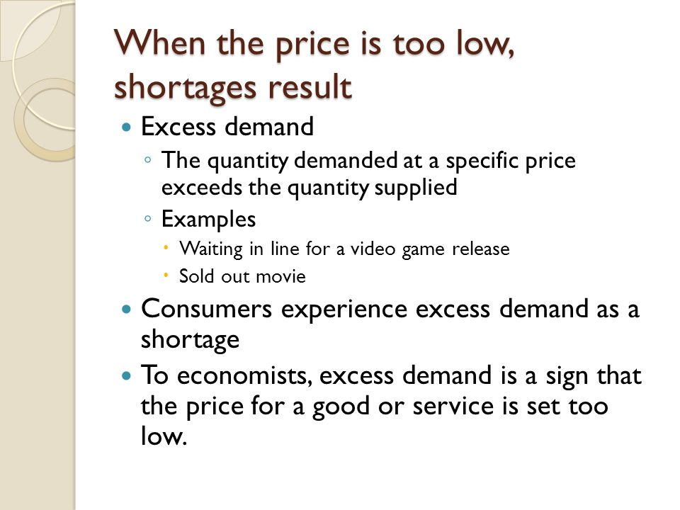 When the price is too low, shortages result Excess demand The quantity demanded at a specific price exceeds the quantity supplied Examples Waiting in