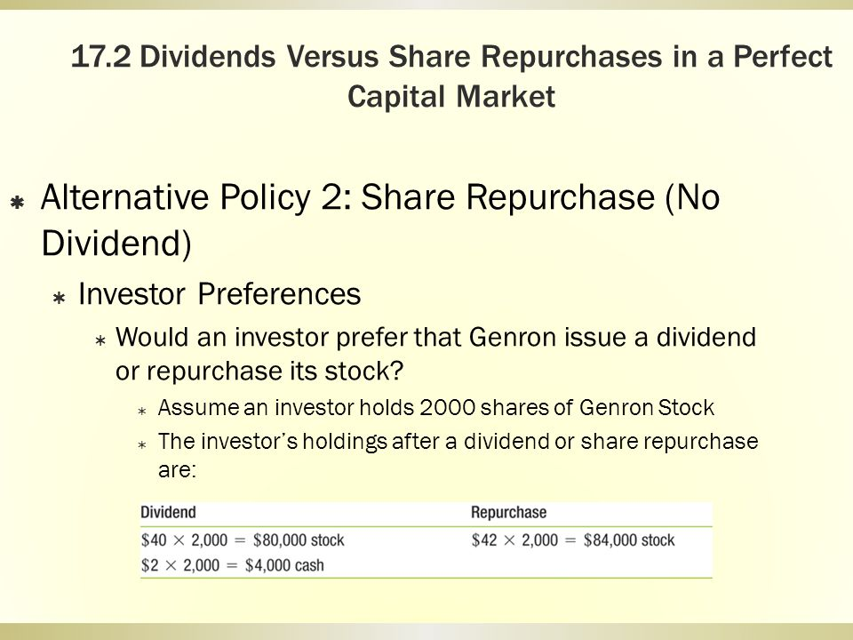 17.2 Dividends Versus Share Repurchases in a Perfect Capital Market Alternative Policy 2: Share Repurchase (No Dividend) Investor Preferences Would an