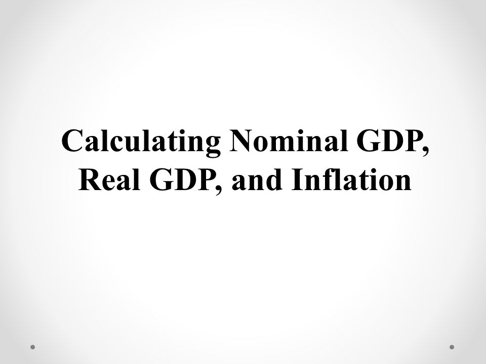 Calculating CPI 1234512345 10 15 20 25 $ 4 5 6 8 4 Units of Output Year Nominal, GDP Real, GDP Make year one the base year = Price of the same market basket in base year x 100 CPI Price of market basket in the particular year Price Per Unit CPI/ GDP Deflator (Year 1 as Base Year) Inflation Rate