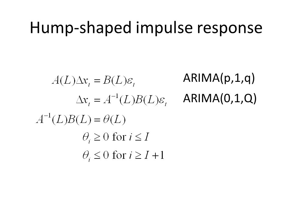Hump-shaped impulse response ARIMA(p,1,q) ARIMA(0,1,Q)