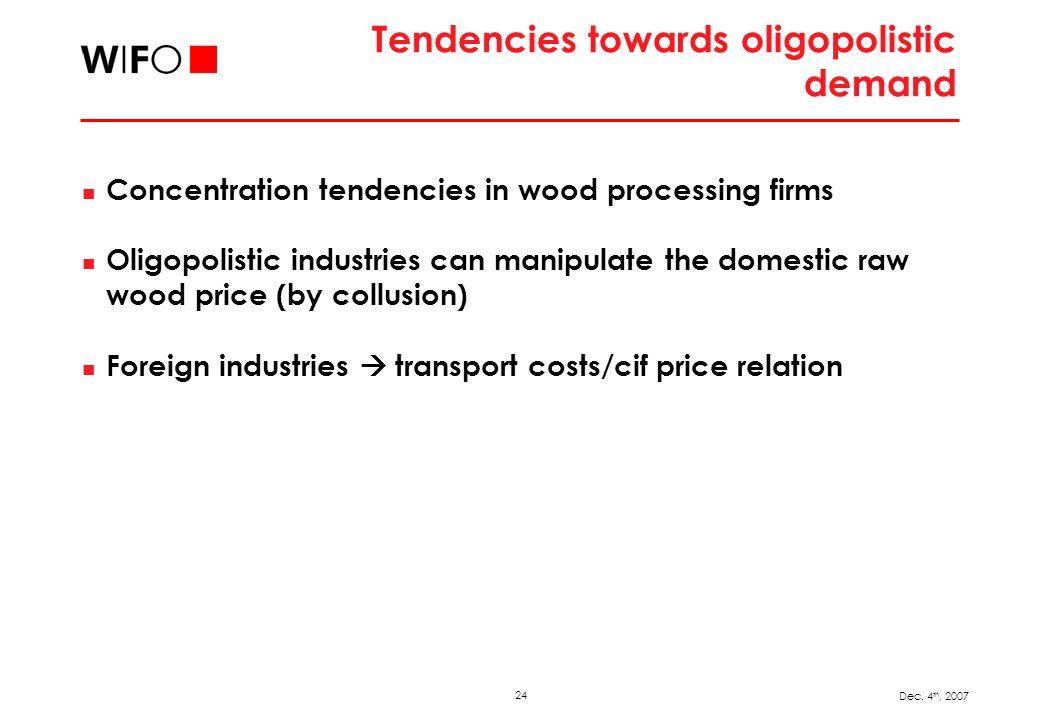 24 Dec. 4 th, 2007 Tendencies towards oligopolistic demand Concentration tendencies in wood processing firms Oligopolistic industries can manipulate t