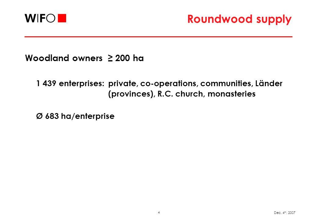 4 Dec. 4 th, 2007 Roundwood supply Woodland owners 200 ha 1 439 enterprises: private, co-operations, communities, Länder (provinces), R.C. church, mon