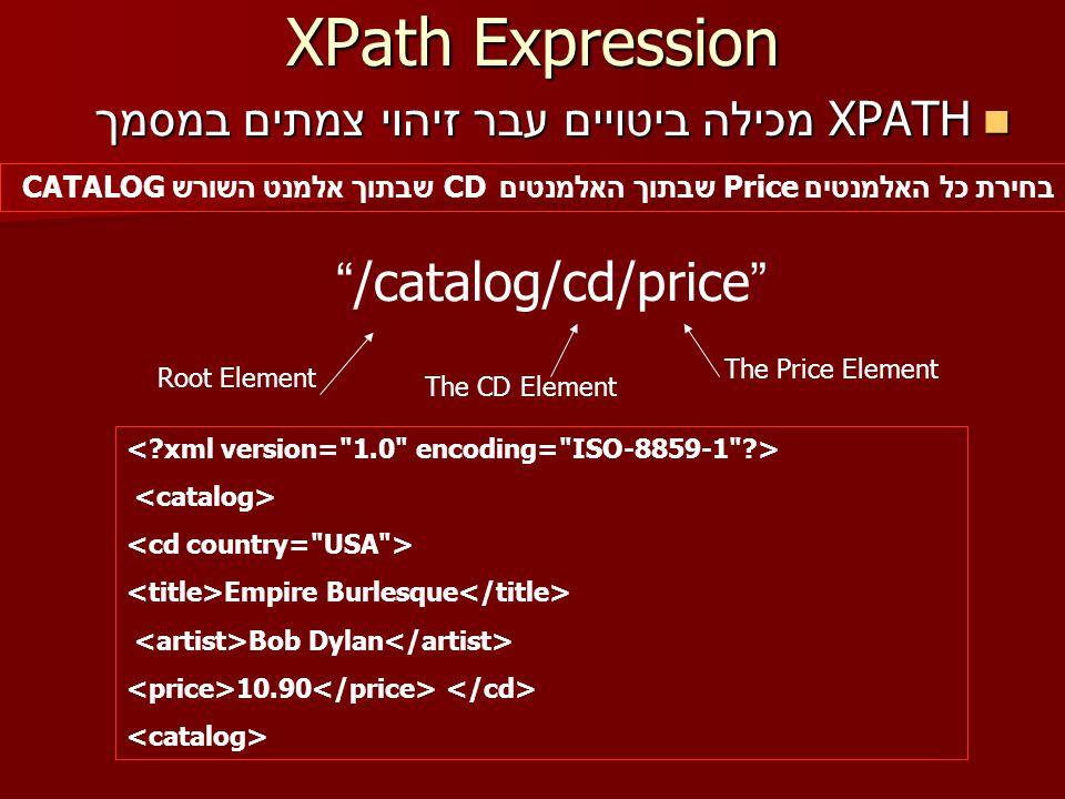 XPath Expression XPATH מכילה ביטויים עבר זיהוי צמתים במסמך XPATH מכילה ביטויים עבר זיהוי צמתים במסמך /catalog/cd/price Root Element בחירת כל האלמנטים Price שבתוך האלמנטים CD שבתוך אלמנט השורש CATALOG The CD Element The Price Element Empire Burlesque Bob Dylan 10.90