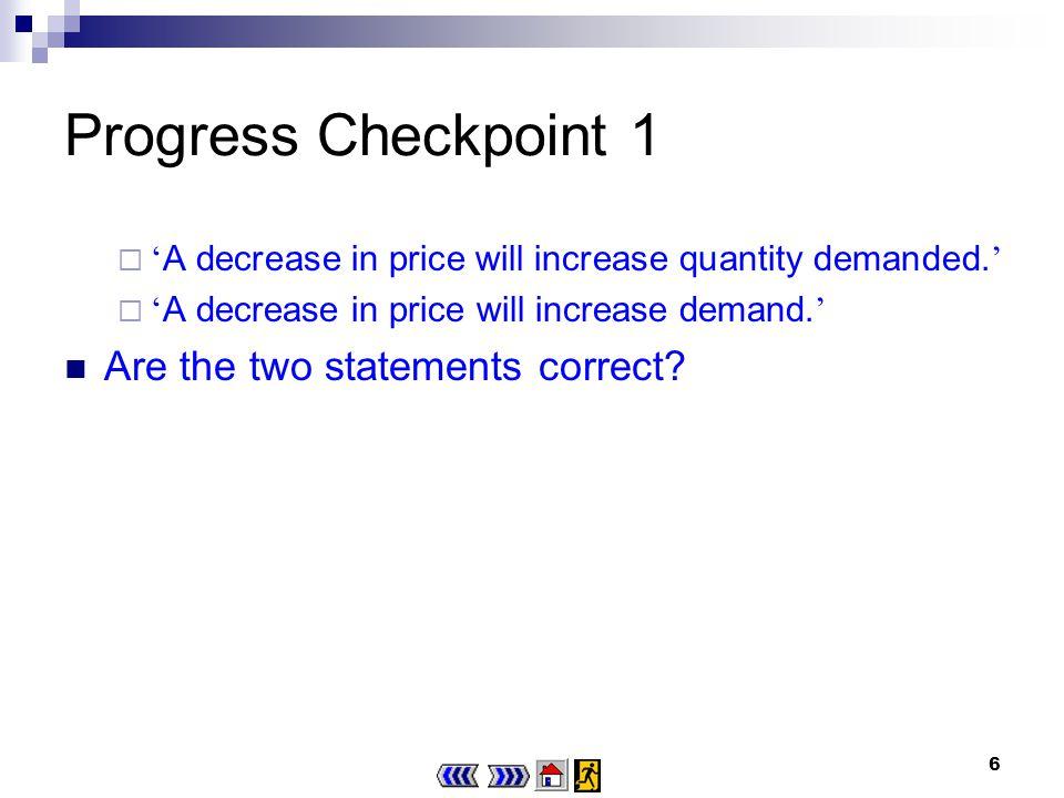 6 Progress Checkpoint 1 A decrease in price will increase quantity demanded.