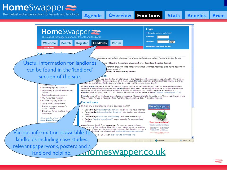 www.homeswapper.co.uk Agenda Overview FunctionsStatsBenefitsPrice Useful information for landlords can be found in the landlord section of the site.