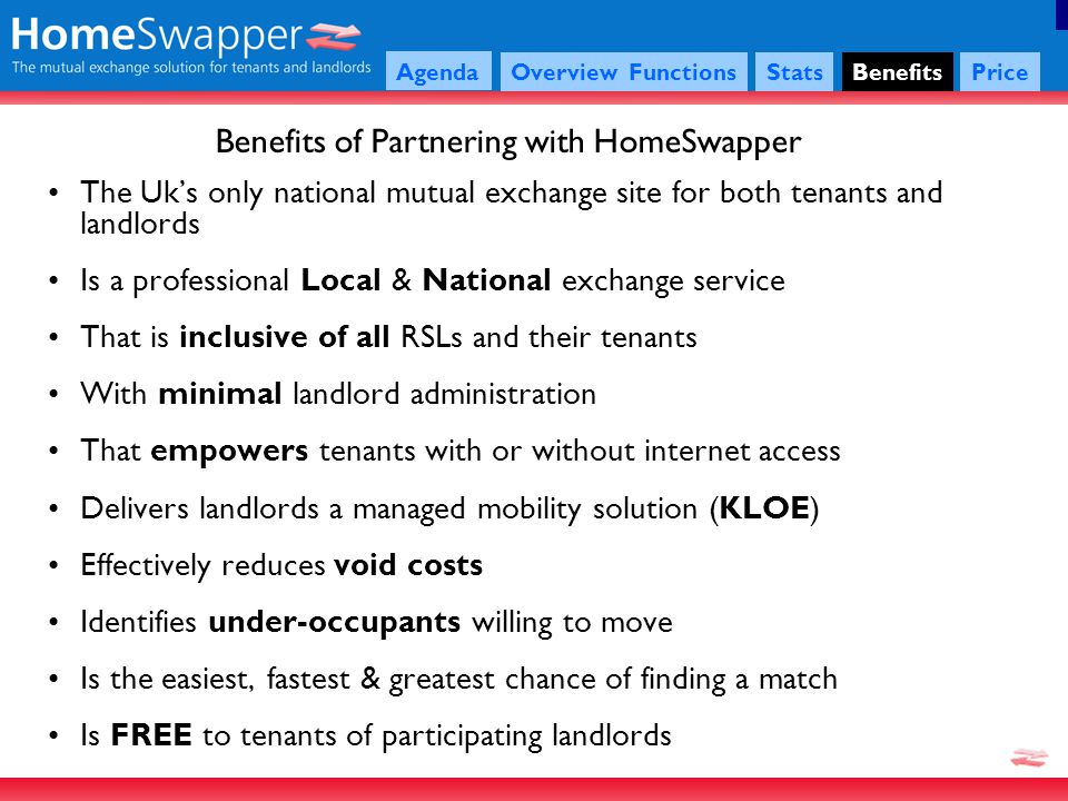 Agenda OverviewFunctionsStatsBenefits Price The Uks only national mutual exchange site for both tenants and landlords Is a professional Local & National exchange service That is inclusive of all RSLs and their tenants With minimal landlord administration That empowers tenants with or without internet access Delivers landlords a managed mobility solution (KLOE) Effectively reduces void costs Identifies under-occupants willing to move Is the easiest, fastest & greatest chance of finding a match Is FREE to tenants of participating landlords Benefits of Partnering with HomeSwapper