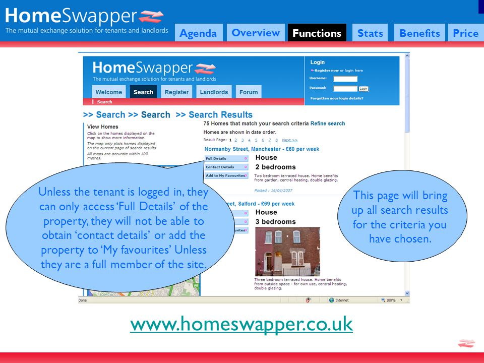 www.homeswapper.co.uk Agenda Overview FunctionsStatsBenefitsPrice This page will bring up all search results for the criteria you have chosen.