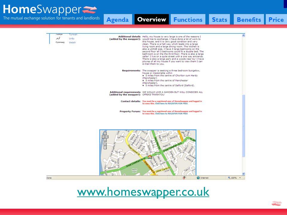 www.homeswapper.co.uk Agenda Overview FunctionsStatsBenefitsPrice