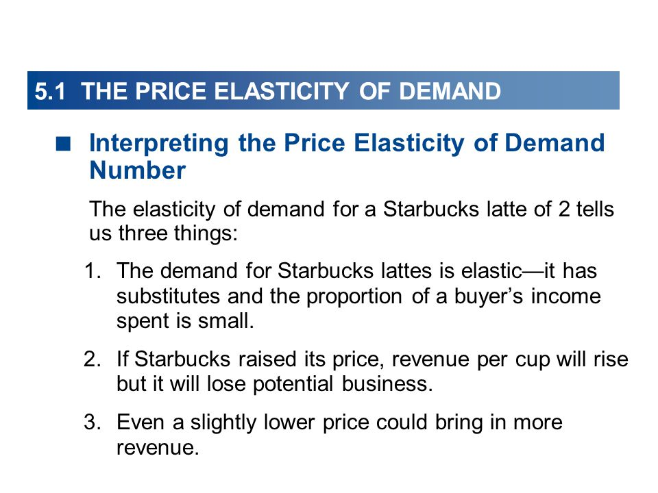 5.1 THE PRICE ELASTICITY OF DEMAND Interpreting the Price Elasticity of Demand Number The elasticity of demand for a Starbucks latte of 2 tells us three things: 1.The demand for Starbucks lattes is elasticit has substitutes and the proportion of a buyers income spent is small.