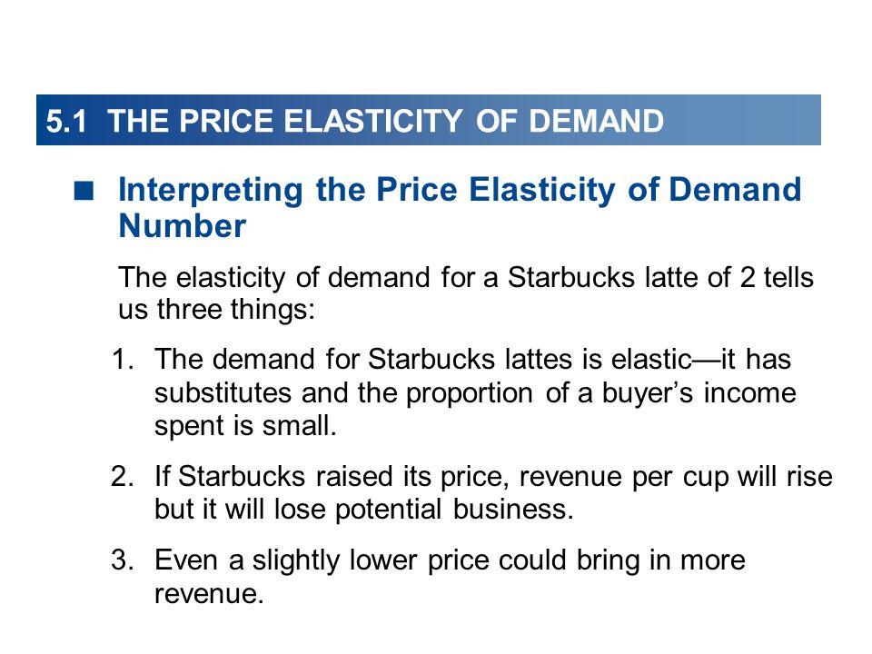 5.1 THE PRICE ELASTICITY OF DEMAND Interpreting the Price Elasticity of Demand Number The elasticity of demand for a Starbucks latte of 2 tells us thr