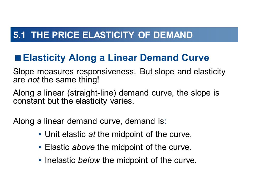 5.1 THE PRICE ELASTICITY OF DEMAND Elasticity Along a Linear Demand Curve Slope measures responsiveness. But slope and elasticity are not the same thi