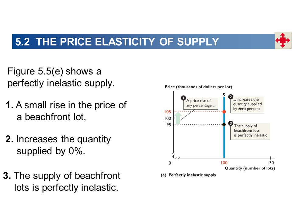 5.2 THE PRICE ELASTICITY OF SUPPLY Figure 5.5(e) shows a perfectly inelastic supply. 1. A small rise in the price of a beachfront lot, 2. Increases th